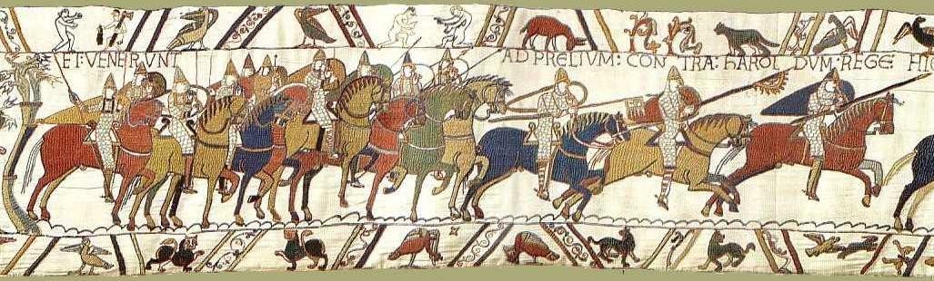 Tapisserie de Bayeux, Scène 48, La cavalerie normande se met en mouvement lors de la bataille d'Hastings, Musées de la ville de Bayeux « Et venerunt ad prelium contra Haroldum rege(m) » [et (les soldats) allèrent au combat contre le roi Harold]