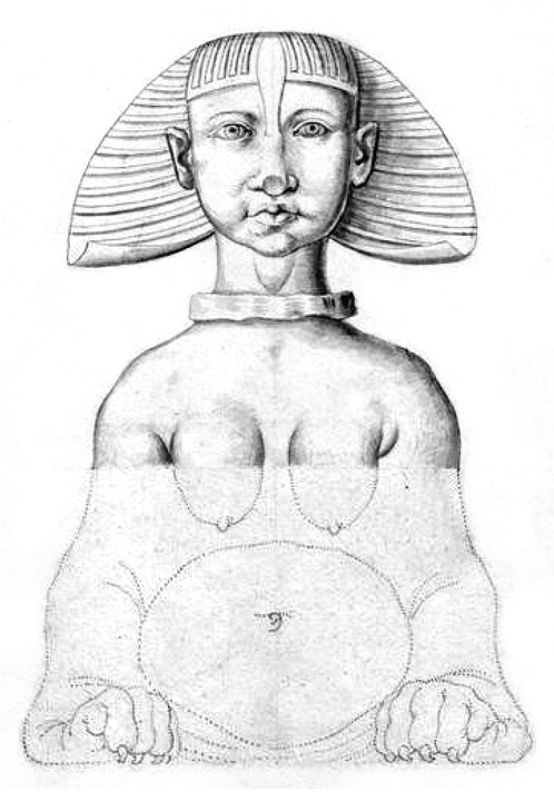 Dessin de sphinx par Étienne Gravier, 1885